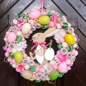 Húsvéti nyuszis ajtódísz, kopogtató, Dekoráció, Húsvéti díszek, Otthon, lakberendezés, Ajtódísz, kopogtató, Mindenmás, Virágkötés, Szalma alapot vászonnal vontam be, majd pasztell színű tojásokkal, termésekkel és virágokkal díszít..., Meska