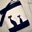 SZIA CICUS! FEHÉRBEN  , Táska, Tarisznya, Válltáska, oldaltáska, Varrás,   Fekete és fehér színű textilbőr kombinációjával készítettem ezt a kényelmes és praktikus táskát. ..., Meska
