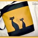 SZIA CICUS! !, Táska, Baba-mama-gyerek, Pénztárca, tok, tárca, Válltáska, oldaltáska, Varrás, Fekete és sárga  színű textilbőr kombinációjával készítettem ezt a kényelmes és praktikus táskát. B..., Meska