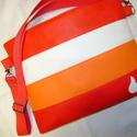 SZÍNES VIDÁMSÁG!!!  PIROS-FEHÉR-NARANCS-PIROS, Táska, Baba-mama-gyerek, Pénztárca, tok, tárca, Válltáska, oldaltáska, Varrás, Piros, fehér és narancssárga   színű textilbőr kombinációjával készítettem ezt a kényelmes és prakt..., Meska