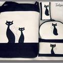SZIA CICUS FEHÉR SZETT! , Táska, Tarisznya, Válltáska, oldaltáska, Varrás,   Fekete és fehér színű textilbőr kombinációjával készítettem ezt a kényelmes és praktikus táskát, ..., Meska