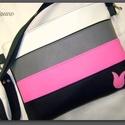 SZÍNES VIDÁMSÁG :)FEHÉR-SZÜRKE-PINK-FEKETE, Táska, Pénztárca, tok, tárca, Válltáska, oldaltáska, Tarisznya, Fehér, szürke, pink és fekete színű textilbőr kombinációjával készítettem ezt a kényelme..., Meska