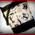 SZIA CICUS, Táska, Ruha, divat, cipő, Baba-mama-gyerek, Válltáska, oldaltáska, Varrás, Fekete  textilbőr és textil kombinációjával készítettem ezt a kényelmes és praktikus táskát. Belülr..., Meska