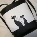 HÁTITÁSKA SZIA CICUS FEKETE-FEHÉR, Táska, Tarisznya, Válltáska, oldaltáska, Hátizsák, Varrás, Fekete és fehér  textilbőrből  készítettem ezt a kényelmes és praktikus táskát. Belülre 2 zsebet va..., Meska