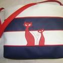 SZALADGÁLÓS, NAGY CSÍKOS TÁSKA  KÉK-FEHÉR-PIROS, Táska, Baba-mama-gyerek, Tarisznya, Válltáska, oldaltáska, Varrás, Kék-fehér-piros  színű textilbőr kombinációjával készítettem ezt a nagy  és praktikus táskát.   Bel..., Meska