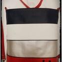 HÁTITÁSKA KÉK-PIROS-EZÜST-FEHÉR, Táska, Tarisznya, Válltáska, oldaltáska, Hátizsák, Varrás,  Kék-fehér-ezüst-piros textilbőrből  készítettem ezt a kényelmes és praktikus hátitáskát táskát. Be..., Meska