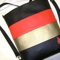 HÁTITÁSKA  PIROS-ARANY-FEKETE, Táska, Tarisznya, Válltáska, oldaltáska, Hátizsák, Piros, arany  és fekete színű  textilbőrből  készítettem ezt a kényelmes és praktikus tásk..., Meska