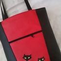 PAKOLÓS ÉS CSINOS II.,  FEKETE CICÁKKAL  , Táska, Baba-mama-gyerek, Válltáska, oldaltáska, Tarisznya, Piros és fekete színű textilbőrből készítettem ezt a praktikus, sok zsebes, csinos táskát. ..., Meska