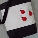 SZIA KATICA!, Táska, Tarisznya, Válltáska, oldaltáska, Fekete és fehér színű textilbőr kombinációjával készítettem ezt a kényelmes és praktikus..., Meska