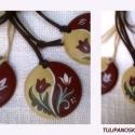 Festett fa medál tulipános mintával, Kézzel festett egyedi fa medál,  tulipános mint...