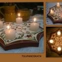 Fa mécsestartó asztali , karácsonyra, Adventi mécsestartó asztali dísz,  szivecskés,...