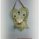 Festett mécsestartó tulipános díszítéssel, Dekoráció, Ünnepi dekoráció, Karácsonyi, adventi apróságok, Karácsonyi dekoráció, Kézzel festett tulipános mécsestartó, tulipános fali dísz  méretei:29cmx23cmx8.5cm Kérésre más színb..., Meska