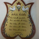 HÁZI ÁLDÁS  tábla tulipános,madaras, Festett tulipános fatábla, bézs színben  Madar...