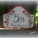 Tulipános utcatábla, Kézzel festett, tulipános utcatábla. Méretei:2...
