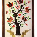 Kézzel festett, egyedi családfa, életfa, Magyar motívumokkal, Otthon, lakberendezés, Dekoráció, Baba-mama-gyerek, Tűzzománc, 100 %-ban kézzel festett, egyedi kivitelű tűzzománc tábla, speciális,  zománcra égethető fotóval. S..., Meska