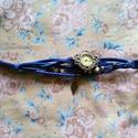 Női vintage karőra, Ékszer, Karóra, óra, Gyönyörű vintage női karóra. Levél díszítéssel, kék színben. Hossza állítható., Meska