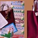 Csapatépítő társasjáték címe: 3x1, Játék, Táska, Társasjáték, Készségfejlesztő játék, Fotó, grafika, rajz, illusztráció, Varrás, A játékot tartó táska bordó bútorhuzat anyagból készült. A játékhoz tartozó eszközök: 1., a bábuk e..., Meska
