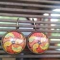 fülbevaló, Ékszer, Fülbevaló,  A fülbevaló 15 mm átmérőjű, sárgaréz színű keretbe foglalt üveglencse. A fülbevaló tel..., Meska