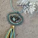 Hímzett jáspis medál  , Ékszer, Képzőművészet, Medál, Nyaklánc, Menta, türkiz és bronz körítést kapott ez a gyönyörű ásvány a medálban.  Gyöngyhímzéssel készítettem..., Meska