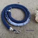 Horgolt nyaklánc, Ékszer, óra, Nyaklánc, Ékszerkészítés, Horgolás, Minőségi japán gyöngyök felhasználásával, gyöngyhorgolással készítettem ezt a nyakláncot. Sötét kék..., Meska