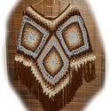 Bohém négyzetmintás poncsó, Ruha, divat, cipő, Női ruha, Poncsó, Bohém,hippi stílusban,kicsit indiános folklór jellegű színvilág. Felnőtt női méret,kb comb..., Meska