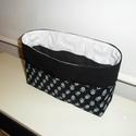 Fekete - fehér apró virágos táskarendező XL, textil tároló, Ruha, divat, cipő, Táska, Neszesszer, Kosár, Varrás,  Egy átlagos méretű táskához készítettem ezt a praktikus táskarendezőt. A táska külsején 5-5 zseb, ..., Meska