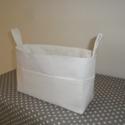 Táskarendező XL-es hófehér, textil tároló, Táska, Hátizsák, Szatyor, Tarisznya, Varrás,  Egy átlagos méretű táskához készítettem ezt a praktikus táskarendezőt. A táska külsején 5-5 zseb, ..., Meska