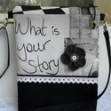 What is your story farmer táska  , válltáska, oldaltáska, Baba-mama-gyerek, Ruha, divat, cipő, Táska, Válltáska, oldaltáska, Patchwork, foltvarrás, Varrás, Fekete vastag farmeranyag és fekete-fehér-szürke, extra minőségű patchwork mintás anyag társításáva..., Meska