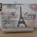 XXL-es Párizs mintás  neszesszer  /pipere tároló, textil tároló, utazó neszesszer, táskarendező, pelenkázó neszesszer, Baba-mama-gyerek, Szépségápolás, Táska, Patchwork, foltvarrás, Varrás,  A közkedvelt Párizs mintás anyagból készítettem ezt a neszesszert.  Szürke alapon fehér pöttyös an..., Meska