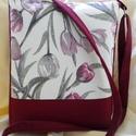 Bordó tulipános kisméretű táska, Baba-mama-gyerek, Táska, Válltáska, oldaltáska, Nagyon praktikus kisméretű táska. A táska anyaga erős vászon ill. nagyon jó minőségű desig..., Meska