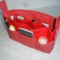 Piros pöttyös XL-es táskarendező, Táska, Ruha, divat, cipő, Baba-mama-gyerek, Kosár, Patchwork, foltvarrás, Varrás, Egy átlagos méretű táskához készítettem ezt a praktikus táskarendezőt. A táska külsején 5-5 zseb, m..., Meska