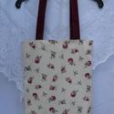 Bordó rózsás táska / bevásárló táska, bevásárló szatyor /, Baba-mama-gyerek, Ruha, divat, cipő, Táska, Szatyor, Patchwork, foltvarrás, Varrás,  Gyönyörű rózsa mintás, német, extra minőségű textilből készítettem ezt a  táskát..A pántja egyszín..., Meska