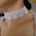 Fehér csipke choker nyaklánc, nyakpánt / esküvői ruha-ékszer,menyasszonyi ruha/, Esküvő, Ékszer, Esküvői ékszer, Nyaklánc,    Ballagásra, keresztelőre, esküvőre, szalagavatóra  vagy akár a hétköznapokban is egyedi megjelené..., Meska