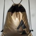 Fekete-arany-bronz textilbőr tornazsák, hátizsák, hátitáska, Baba-mama-gyerek, Ruha, divat, cipő, Táska, Hátizsák, Varrás, Tökéletes városi viselet. Minden belefér ami a hétköznapokhoz szükséges, iskolában és munkában egya..., Meska