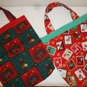 Karácsonyi mintás vászon  táska ,ajándék átadó, Baba-mama-gyerek, Táska, Szatyor, Patchwork, foltvarrás, Varrás, Karácsonyi  mintás anyagból készítettem ezeket a kis táskákat. Ajándék átadására kiválóak. A kettő ..., Meska