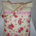 Rózsás  bevásárlótáska, bevásárló szatyor, Táska, Baba-mama-gyerek, Ruha, divat, cipő, Szatyor,  Ezt a csini táskát, krém alapon pink színű rózsás, minőségi pamutvászonból készítettem. Rózsaszín p..., Meska