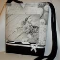 Vintage rózsás, fekete-fehér-szürke váll és oldaltáska, Táska, Mindenmás, Baba-mama-gyerek, Válltáska, oldaltáska, Patchwork, foltvarrás, Varrás, Prémium minőségű vintage design textilből és fekete strapabíró vászonból készítettem ezt a táskát. ..., Meska