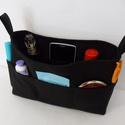 """""""Feketeség"""",XL-es táskarendező , textil tároló, rendszerező, Táska, Neszesszer, Pénztárca, tok, tárca, Válltáska, oldaltáska, Varrás, Patchwork, foltvarrás, Egy átlagos méretű táskához készítettem ezt a praktikus táskarendezőt. A táska külsején 10 zseb, mí..., Meska"""