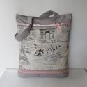 """"""" Csodás Párizs"""" bélelt táska / bevásárlótáska, bevásárló szatyor /, Táska, Ruha, divat, cipő, Baba-mama-gyerek, Szatyor, Patchwork, foltvarrás, Varrás, A közkedvelt, prémium minőségű,  Párizs mintás anyagból készítettem ezt a táskát.  Szürke alapon fe..., Meska"""