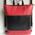 Textilbőr hátizsák, piros-fekete csipke mintás, táska, kézitáska, válltáska, Táska, Baba-mama-gyerek, Válltáska, oldaltáska, Varrás, Puha piros  textilbőrből és fekete csipke mintás textilbőrből készítettem ezt az új fazonú táskát. ..., Meska