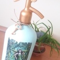 Vintage szódásüveg erdőtündérrel, Dekoráció, Dísz, A képen szereplő szódásüveg krétafestékkel és transzfertechnikával díszítve, Meska