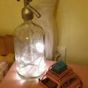 Hangulatvilágítás szódásüvegből, Otthon, lakberendezés, Lámpa, Asztali lámpa, Retro szódásüveg asztali lámpaként újratöltve, Meska