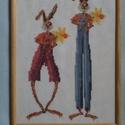 Keresztszemes nyuszis kép, Dekoráció, Kép, Ünnepi dekoráció, Keresztszemes hímzéssel készült kép nyuszikkal fa keretben, Meska