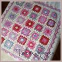 Pink takaró babáknak, horgolva, Baba-mama-gyerek, Gyerekszoba, Baba-mama kellék, Falvédő, takaró, Horgolt babatakaró granny square technikával készítve.  Takaró mérete kb. 70x83 cm-es (5x6 négyzetes..., Meska