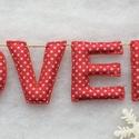 advent betűgirland, Dekoráció, Ünnepi dekoráció, Karácsonyi, adventi apróságok, Karácsonyi dekoráció, Varrás, Piros,csillagos Tilda pamut anyagból kézzel varrt, kb 43 cm hosszú betűgirland. A  betűk magassága ..., Meska