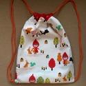 Piroska és a farkas,- hátizsák, ovis tornazsák, Baba-mama-gyerek, Varrás, Design textilből készült kétrétegű könnyű, pamut tornazsák. Mérete 26,5x 35 cm. A postaköltség tájé..., Meska