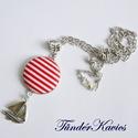 Piros-fehér csíkos textilgomb matróz stílusú nyaklánc, Ékszer, óra, Nyaklánc, 25 mm medál átmérő, 50 cm antik ezüst színű nyaklánc, amelynek hossza tetszés szerint módo..., Meska