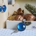 Csillámló kék üveglencsés ékszerszett, Ékszer, Ékszerszett, 20 mm átmérőjű üveglencsék lapulnak a csepp alakú, ezüst színű, fémötvözet fülbevalóa..., Meska