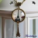 Párizsi metró üveglencsés nyaklánc, Ékszer, Nyaklánc, 25 mm átmérőjű, gyöngyház fényű lencse lapul a sima szélű antik bronz színű medálban, a..., Meska