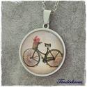 Virágos kerékpár rozsdamentes üveglencsés nyaklánc, Ékszer, Nyaklánc, Vonzanak az üveglencsés ékszerek, de érzékeny vagy a bizsura? Ne köss kompromisszumot!  25 mm ..., Meska